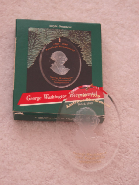 1989 Acrylic Hallmark Ornament -- George Washington Bicentennial