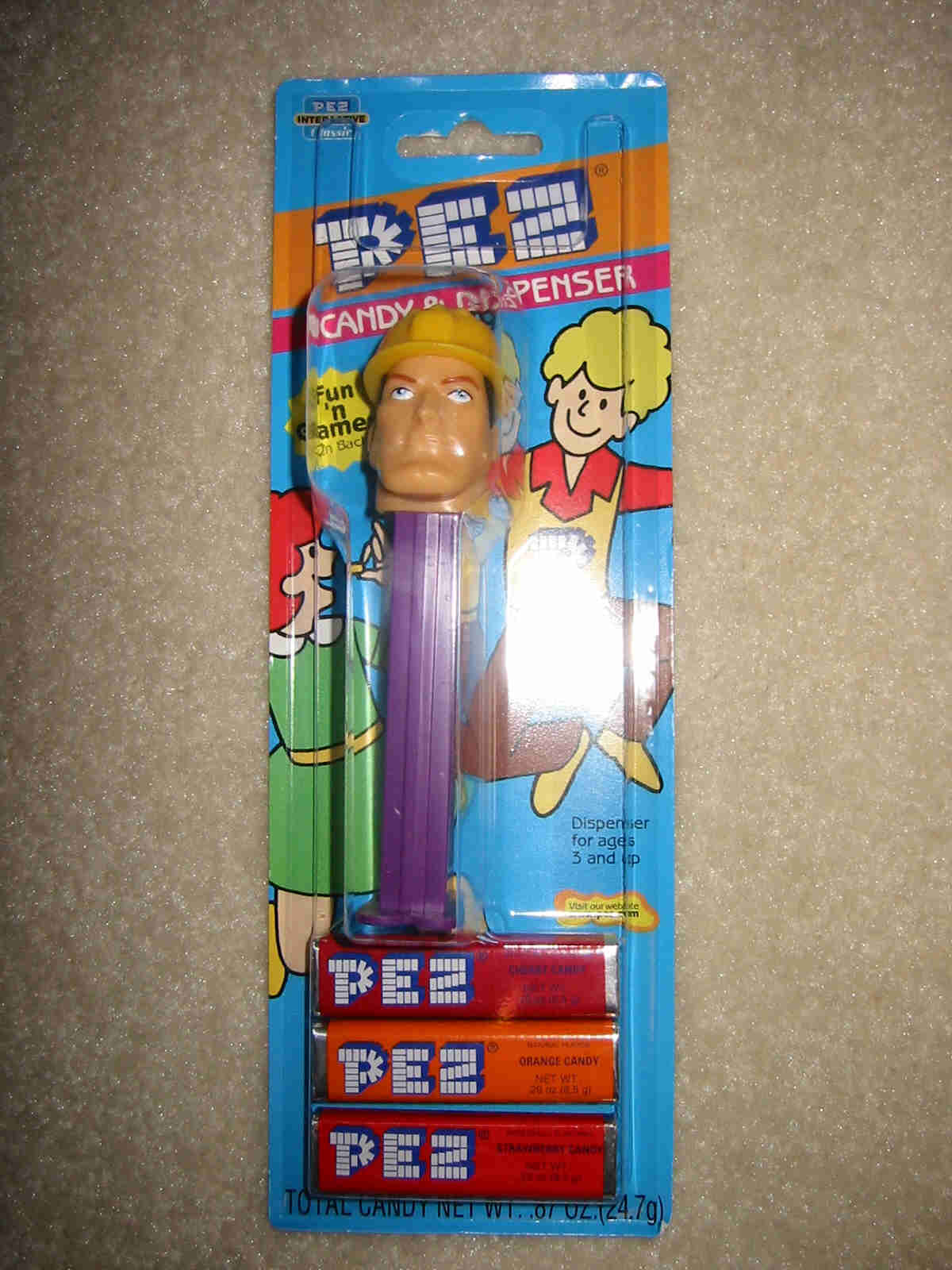 Pez Emergency Hero - Construction Worker Card Variation