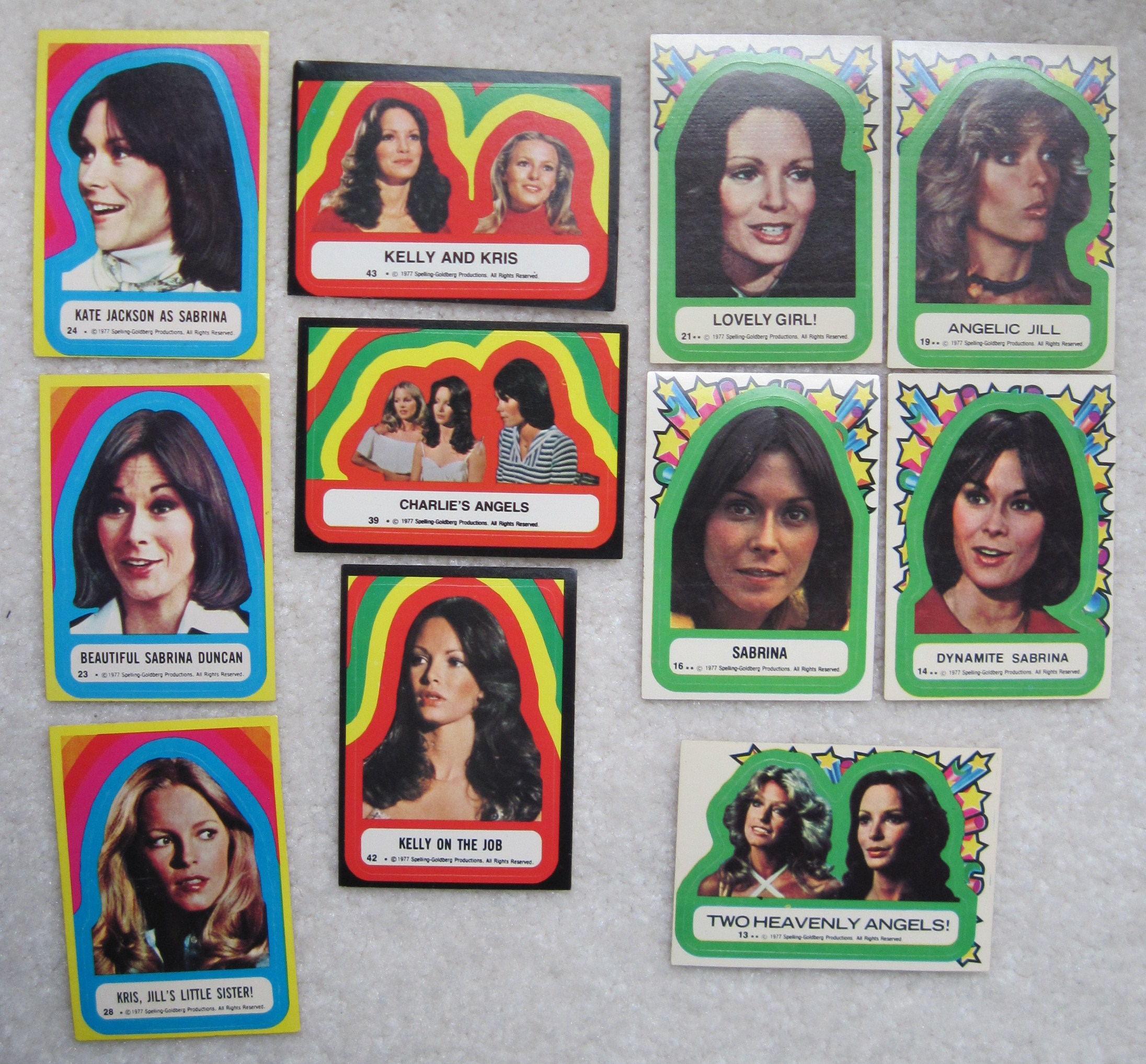 Misc. Set of Charlie's Angels Stickers with Farrah Fawcett
