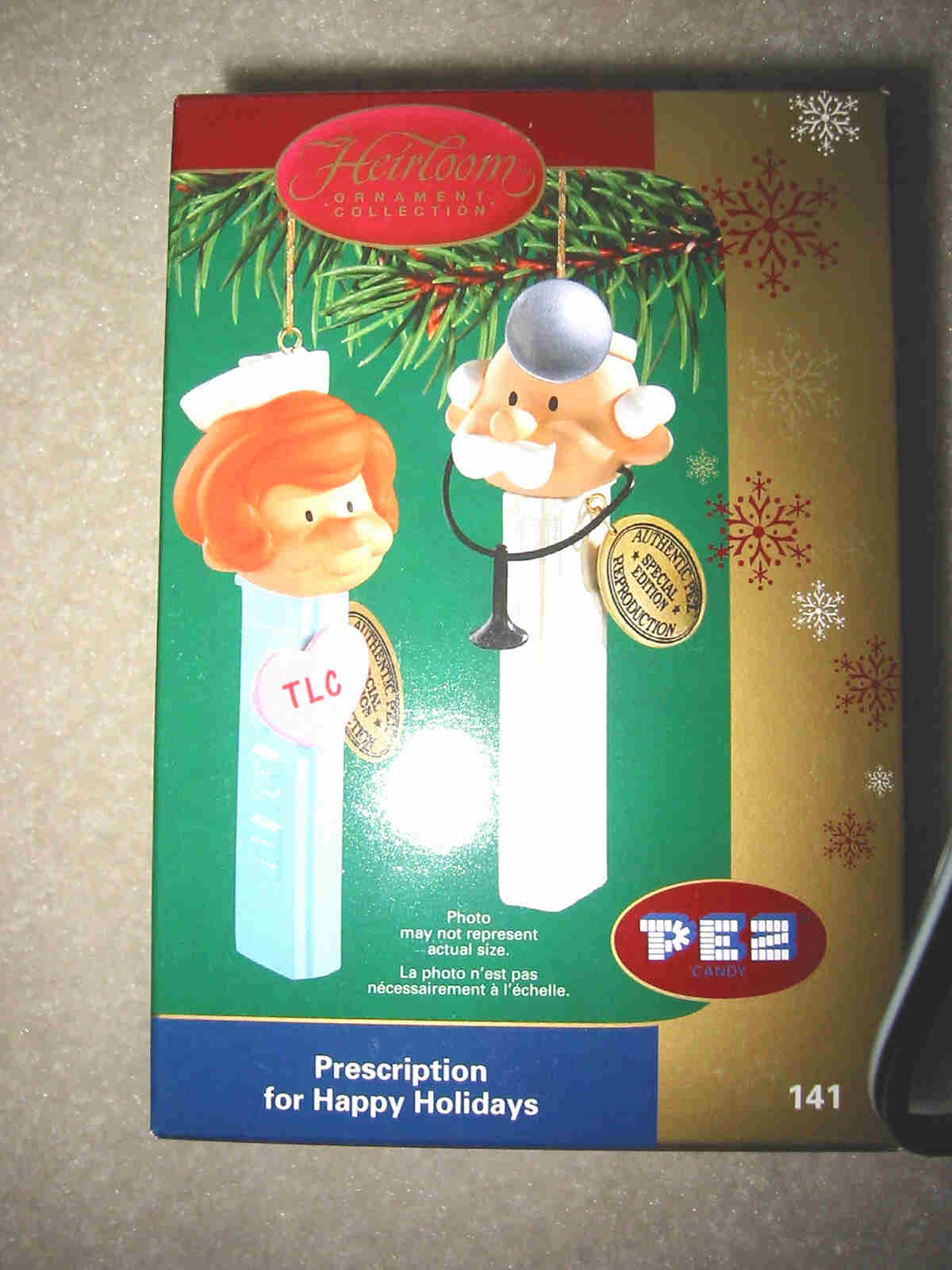 Pez Doctor and Nurse Ornament Set