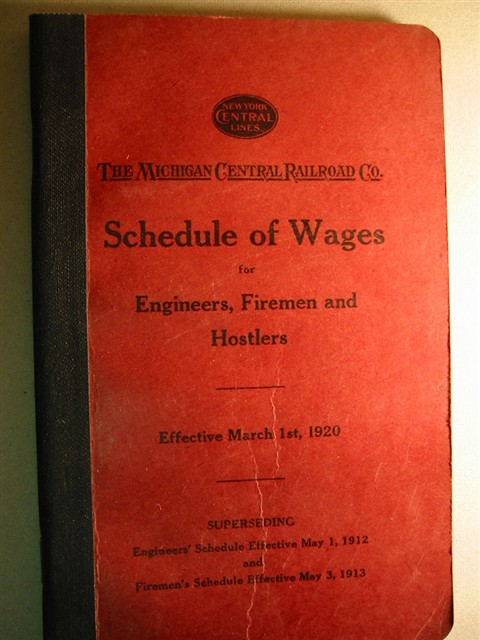 Michigan Central Railroad Company Schedule of Wages Booklet