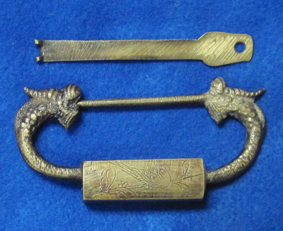 Chinese Figural Dragon Slide Lock