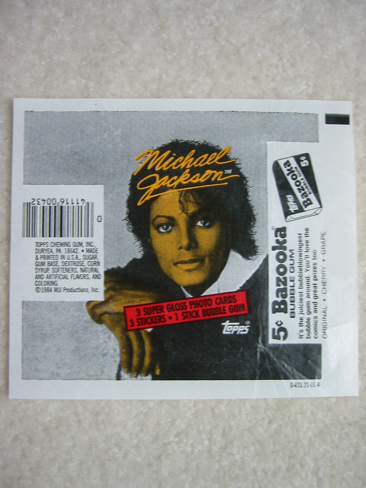 Michael Jackson Bubble Gum Card Package